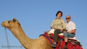 Western couple rides camel in India