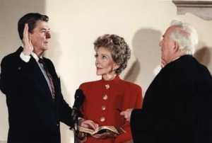 Reagan being inaugurated as president at the White House, January 1985